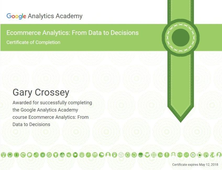 Google Analytics Certificate - Gary Crossey